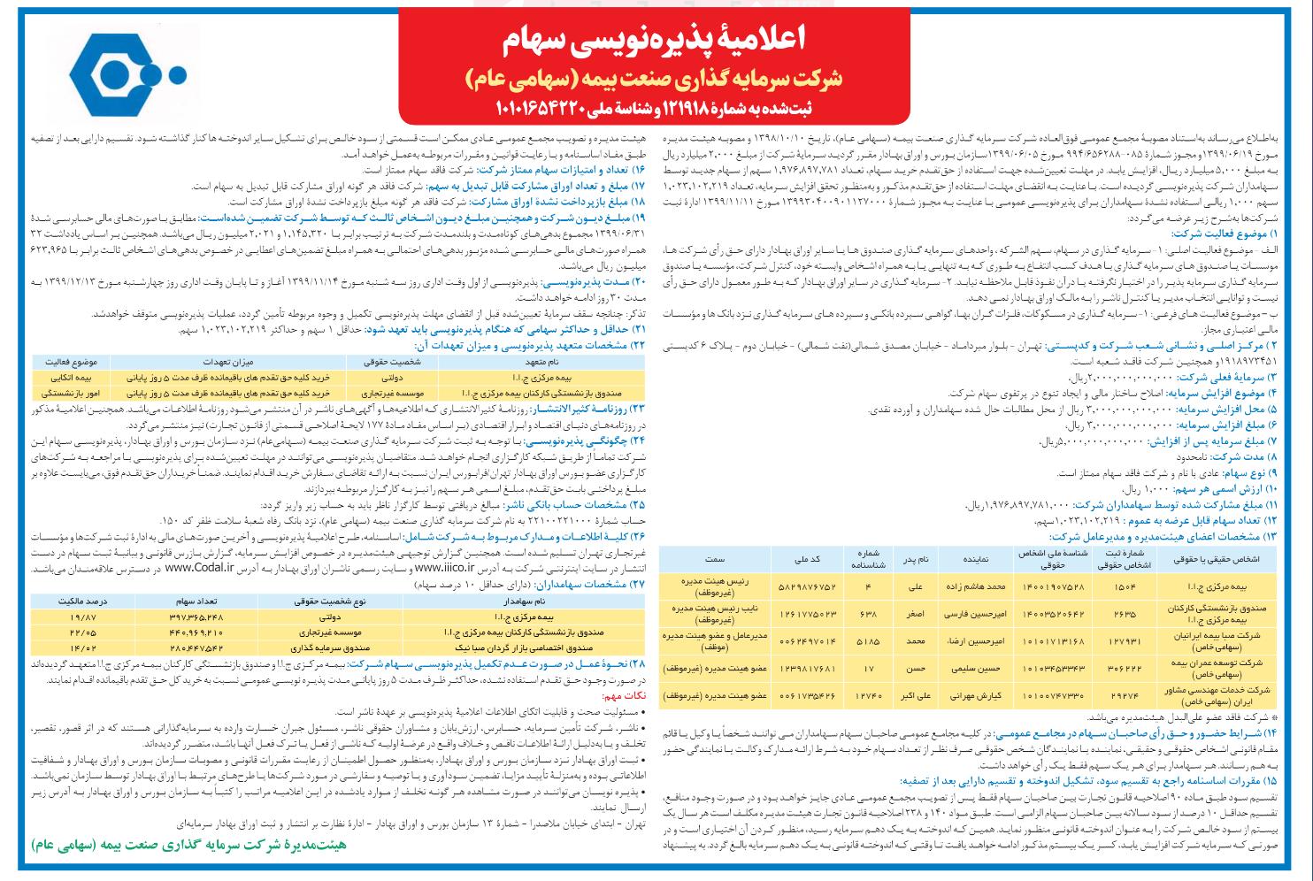 اعلامیه پذیره نویسی عمومی حق تقدم استفاده نشده